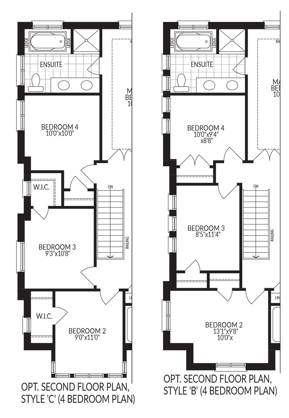 Optional Second Floor 4 Bed. Plan Style C + B
